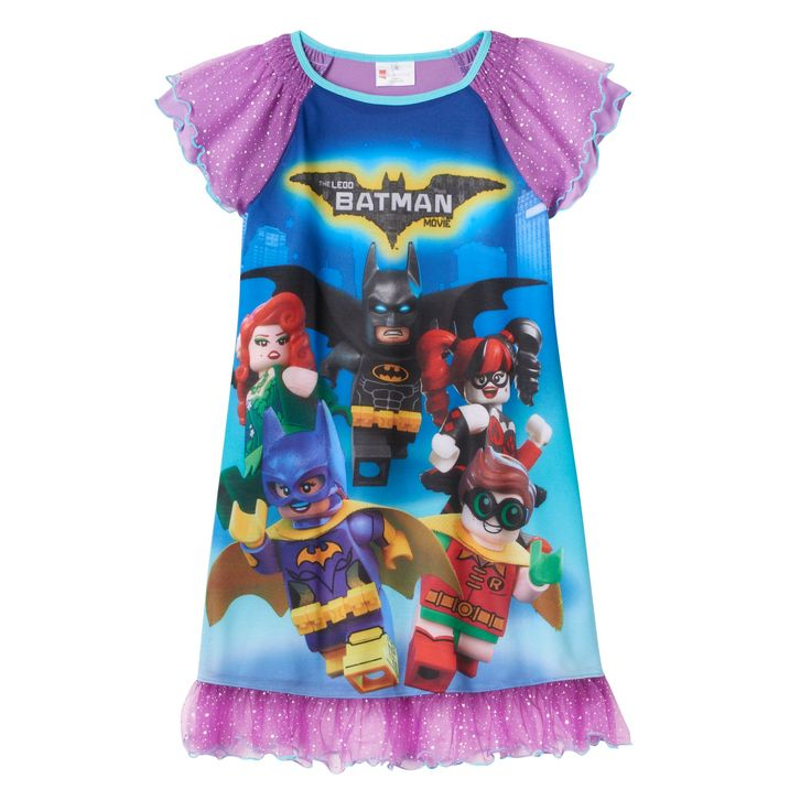Girls 4-10 The LEGO Batman Movie Robin & Batgirl Teamwork Nightgown, Size: 10, Purple