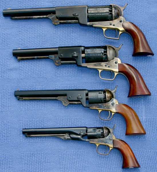 Size Comparison of Colt Percussion Revolvers: (top-to-bottom) Walker (1847), Dragoon (3rd Model - 1851), Navy (1851) and Police (1862).