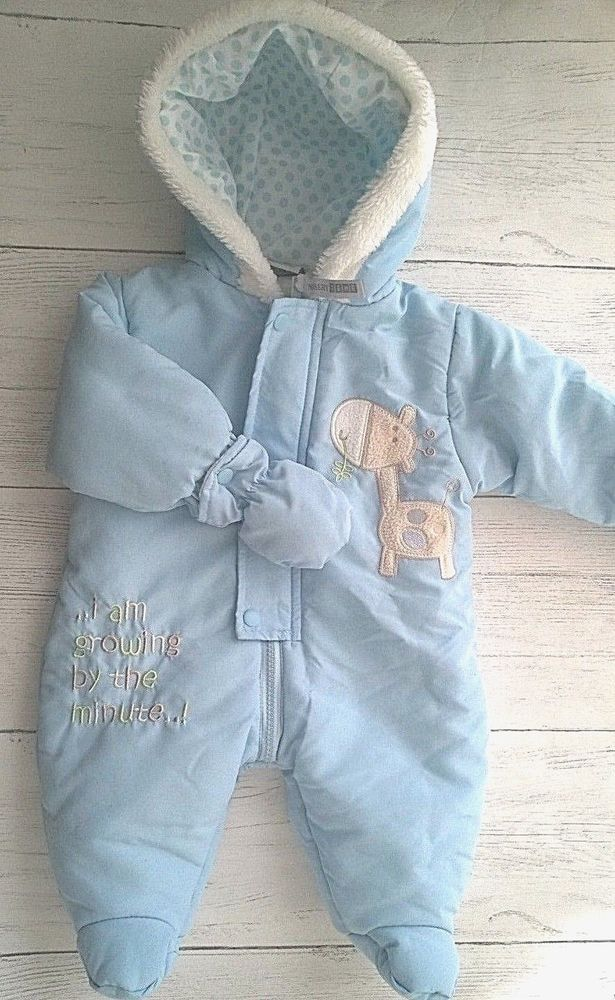 9861b9bc4 Baby Boys Blue Snowsuit with Removable Mittens 0-3 Months Nursery ...