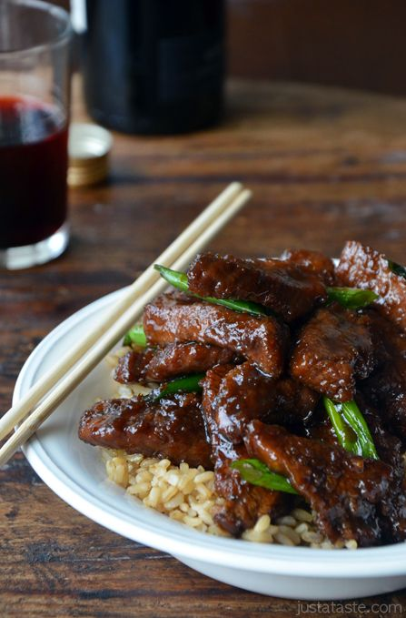 30-Minute Mongolian Beef (PF Chang's copycat recipe) by justataste: Thin slices of flank steak, minced fresh garlic and ginger, dark brown sugar and soy sauce. Toss it all together and 30 minutes later you'll be chowing down... #Beef #Flank_Steak #Oriental #Mongolian_Beef