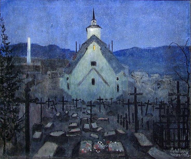 Natt, Røros Kirke. Harald Sohlberg.
