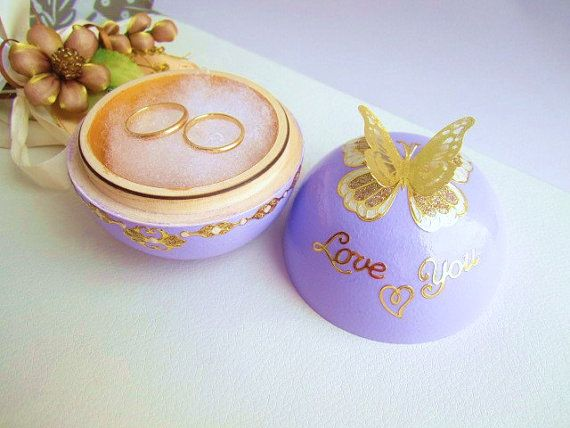 Lavender ring bearer box gold butterfly wedding ring by GattyGatty, $27.00