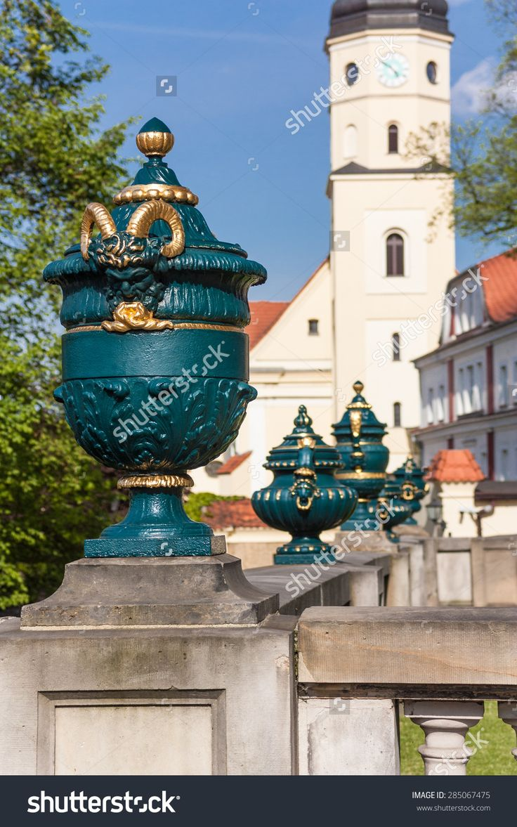 Decorative Figures Ornamental Stone Statues Fence At The Entrance To The Castle. Country: Poland City: Pszczyna Date May 16, 2015 Zdjęcie stockowe 285067475 : Shutterstock