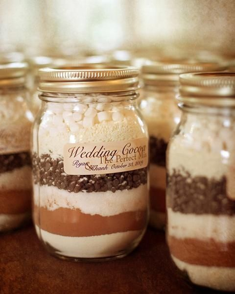 Wedding Cocoa mix for a winter wedding as guest gifts? Maybe smaller sized mason jars...? cute idea.