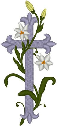 "Vintage Ecclesiastical Cross Design 503 Embroidery Design. White lilies, often called the ""white-robed apostles of hope,"" are associated with Easter and the cross because they were found growing in the Garden of Gethsemane after Christ's agony. Tradition states that beautiful white lilies sprung up where drops of Christ's sweat fell to the ground in his final hours of sorrow and deep distress."