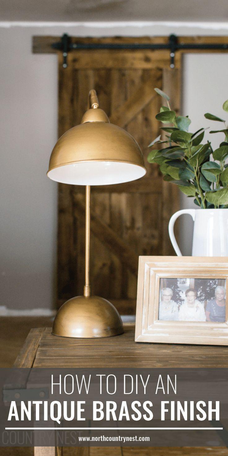 DIY antique brass finish, living room table lamp, DIY table lamp, how to faux antique brass finish, how to fake brass finish #DIY #antiquebrass #fauxfinish