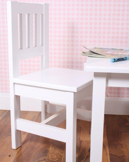 Toddler chairs  Made from clear A-Grade pine, each piece has been expertly crafted and features fine groove detailing with elegant trims. This range is finished in a fresh shade of Soft White.
