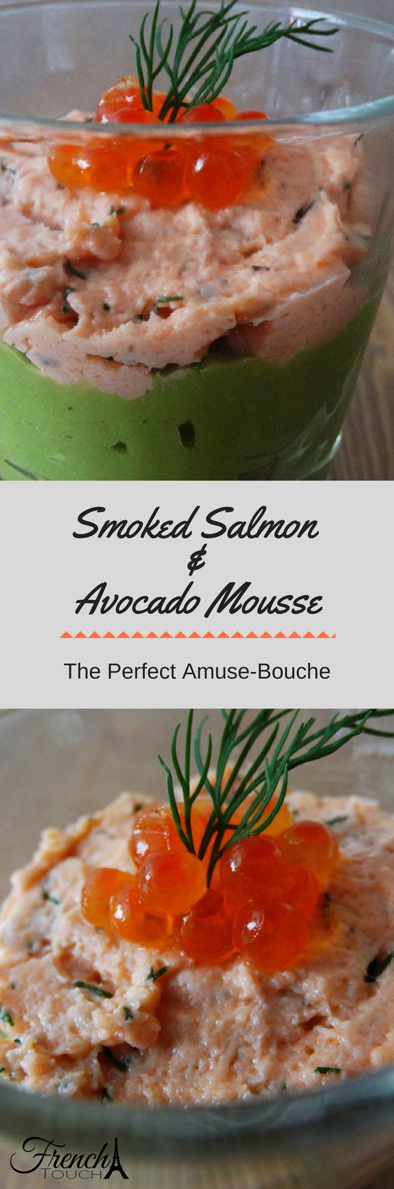This smooth and creamy smoked salmon and avocado mousse is the perfect amuse-bouche/appetizer. Presented in a glass, it is perfect for a fancy party.An easy appetizer recipe to make!