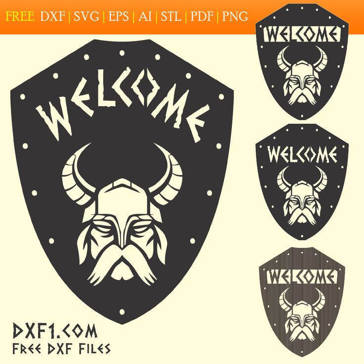 Viking shield welcome sign free vector art. Barbarian silhouette design CNC DXF File Download. The download contains three designs of welcome signboards in the form of a shield and a silhouette of a Viking. Welcome sign is written in runic script. The welcome sign is scalable and can be used in different projects. This design is great for plasma cutting, laser cutting, waterjet cutting, engraving, milling, printing, etc.  File Formats Include: DXF, SVG, Al, EPS, PDF, STL and high res PNG