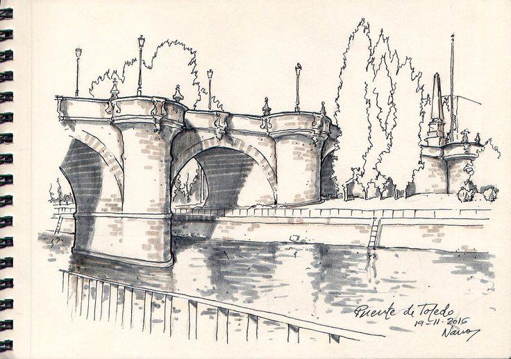 El Puente de Toledo desde la margen derecha del Río Manzanares