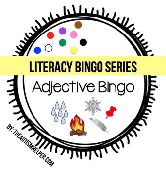 Adjective Bingo {This book contains two levels of play. One adjective game identifies objects based on colors to focus on concrete adjectives. The harder level game identifies objects based on other attributes such as cold, hot, wet, small, large, striped, etc. to target more abstract attributes. Each game includes 15 boards, calling cards, and a visual answer key. There are two games in one with this pack!} by theautismhelper.com