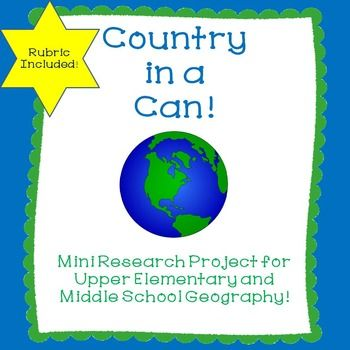 "This is a project that I used when I taught 7th Grade Social Studies. It was a lot of fun for the students. Teachers can assign countries based upon their particular unit of study. One of the items in the container has to be a recipe. We use these later to have a ""Celebration of Culture"" where we enjoy sampling food from around the world."