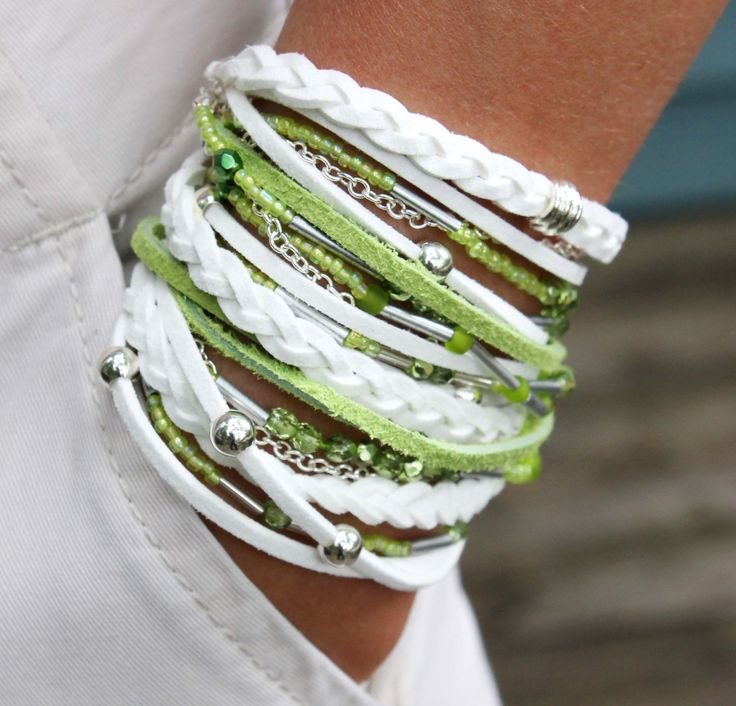"""BOHO Wrap Beaded Bracelet - TRIPLE - Suede / Faux Suede - White / Lime Green - 23"""" - Wrist 6"""" up to 6.60"""" - Silver Accents - Ref 251. $32.50, via Etsy."""