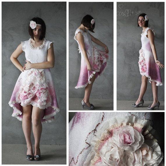 Felted Dress  Rose Dress  Felt Dress  Spring Dress  Mother
