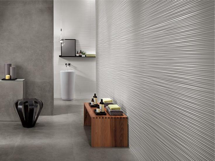 Rivestimento tridimensionale in ceramica a pasta bianca per interni LINE Collezione Rivestimenti in Pasta Bianca by Atlas Concorde