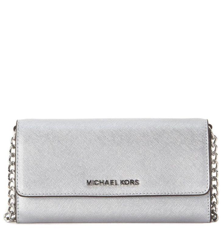 MICHAEL KORS JET SET SILVER LEATHER POCHETTE. #michaelkors #bags #shoulder bags #leather #