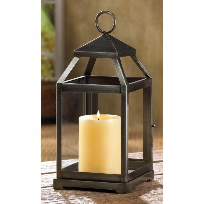 RUSTIC SILVER CONTEMPORARY LANTERN - Candle Holders & Accessories