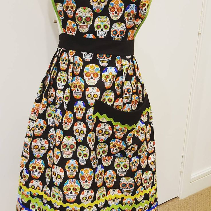 """5 Likes, 1 Comments - Penny Wolf (@v1ntagev1xen) on Instagram: """"#dayofthedead apron, ready for some Mexican #fiesta cooking. I see #margarita in my future.…"""""""