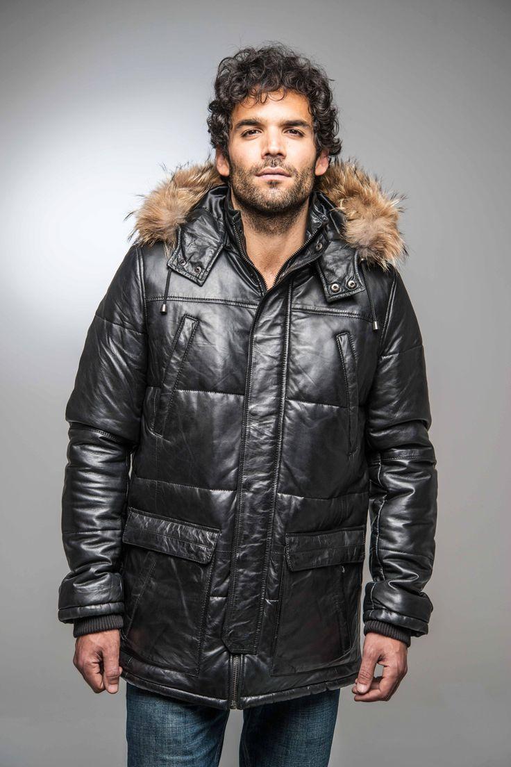 Doudoune en cuir avec fourrure pour homme Daytona 73 | modèle Snow