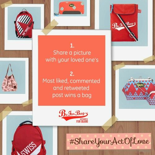 This love season we introduce a contest of love. Share a picture with your loved one's. Be it anyone. Your mom, husband, baby. The most liked, commented and shared picture wins a bag. #ShareYourActOfLove #contest #valentinesday