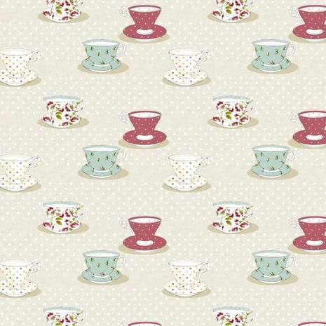 Vintage Tea Cups PVC Fabric