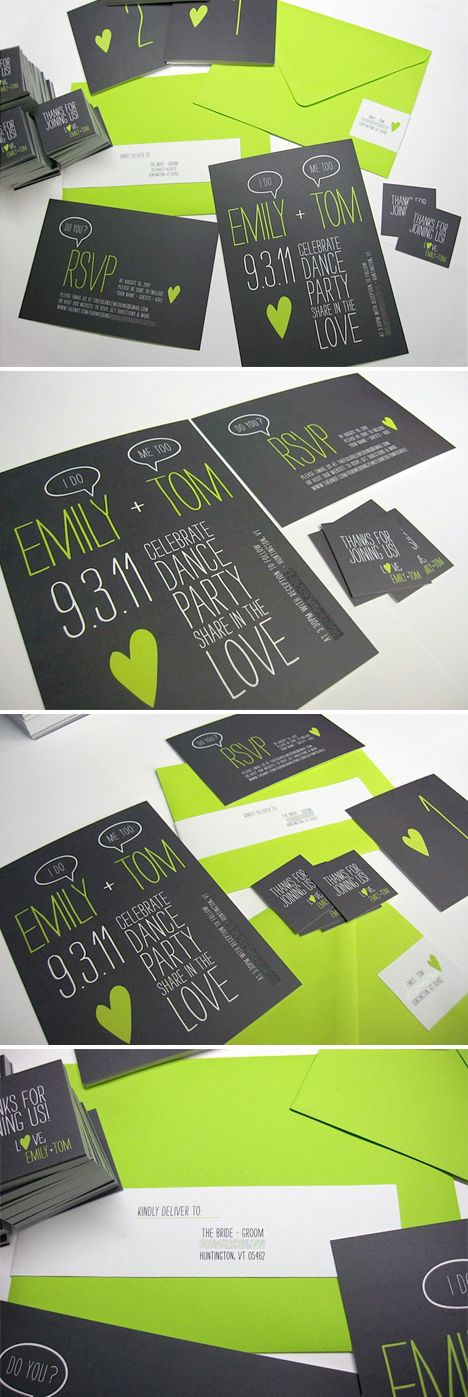 Ideas, Invitations Sets, Greenblack, Neon Green, Modern Weddings, Modern Wedding Invitations, Modern Invitations, Limes Green Black, Design