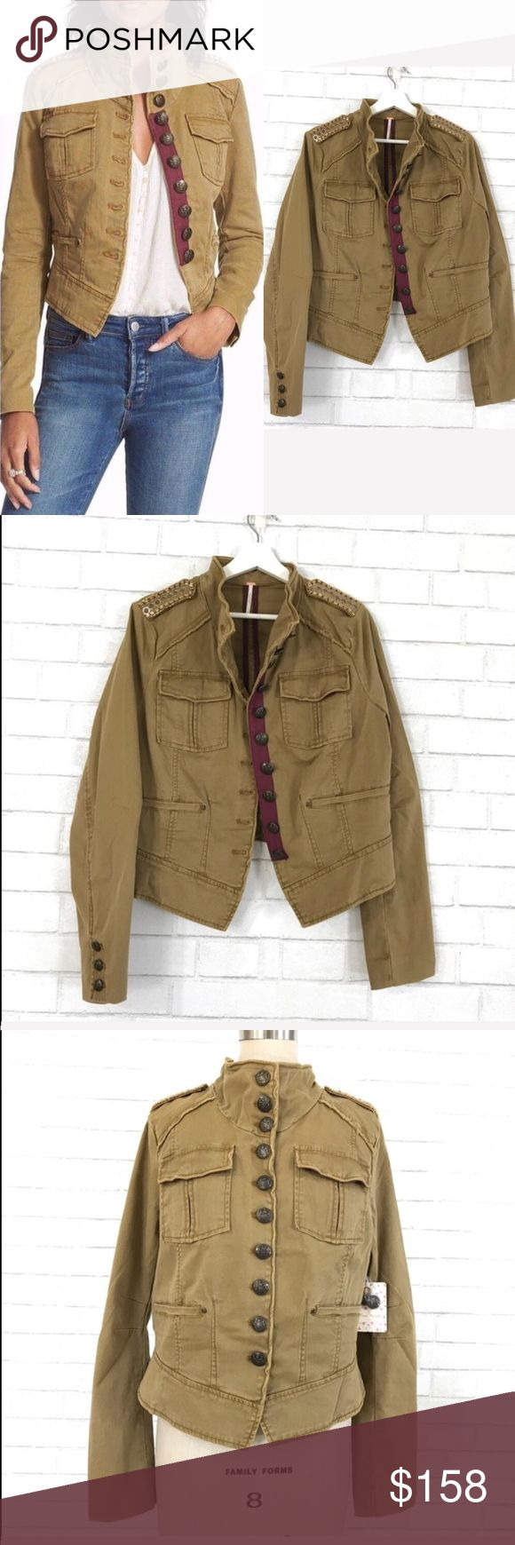 free people sand green Military Jacket size L New with tag A must have o military jacket in sand green.  Ⓜ️size L  Ⓜ️Chest 42 Ⓜ️waist 37 Ⓜ️Length 22 Ⓜ️Sleeves 26 Ⓜ️Shoulders 16.5  New with Tag, cotton spandex polyester blend, stand collar, button up, extra buttons included, 2 flap button pockets at Chest, bedded detail shoulder.   ✅Bundle and save  ✅🚭 🚫No Trading 🙅🏻 Poshmark rules only‼️ 📮price negotiation via offer only please♥️ Free People Jackets & Coats