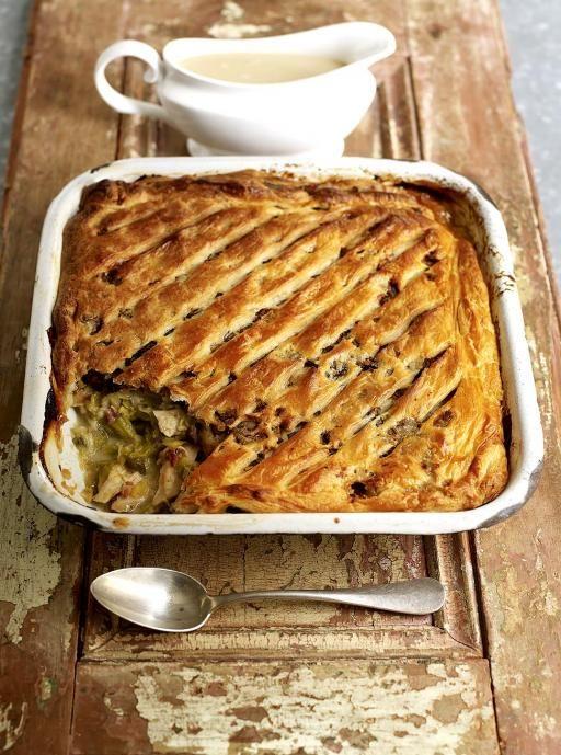 Turkey & sweet leek pie  http://www.jamieoliver.com/recipes/turkey-recipes/turkey-and-sweet-leek-pie/#7GV0ChlZZit6HiX0.97