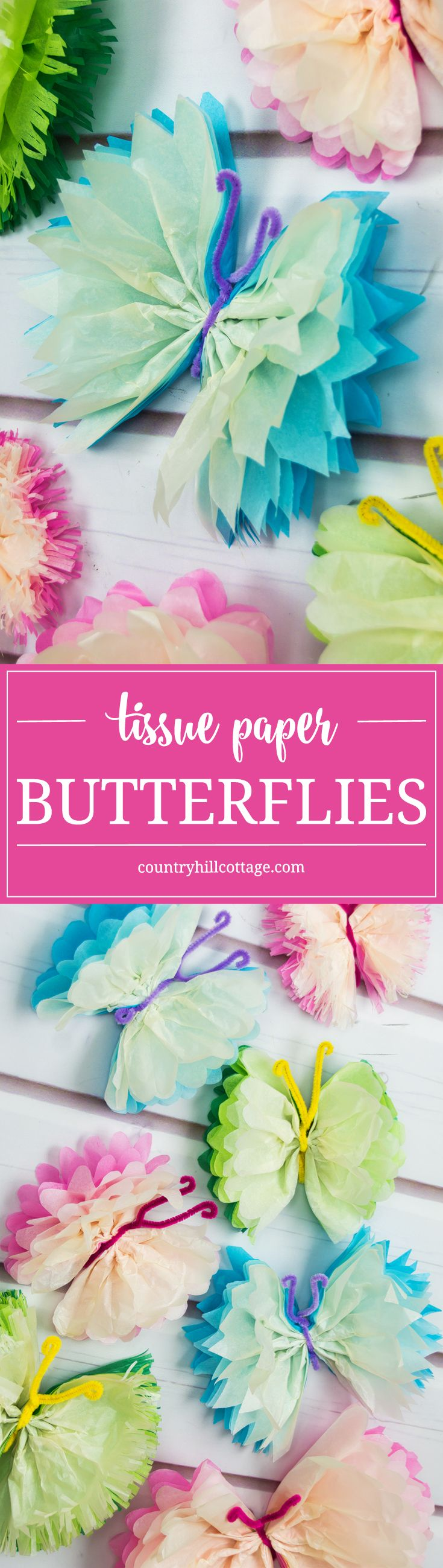 Frilly tissue paper butterflies are a beautiful decoration for parties and weddings! In this paper craft DIY, we show an easy technique to create colourful and elegant butterflies using tissue paper and pipe cleaner. #papercrafts #DIY #decor | countryhillcottage.com