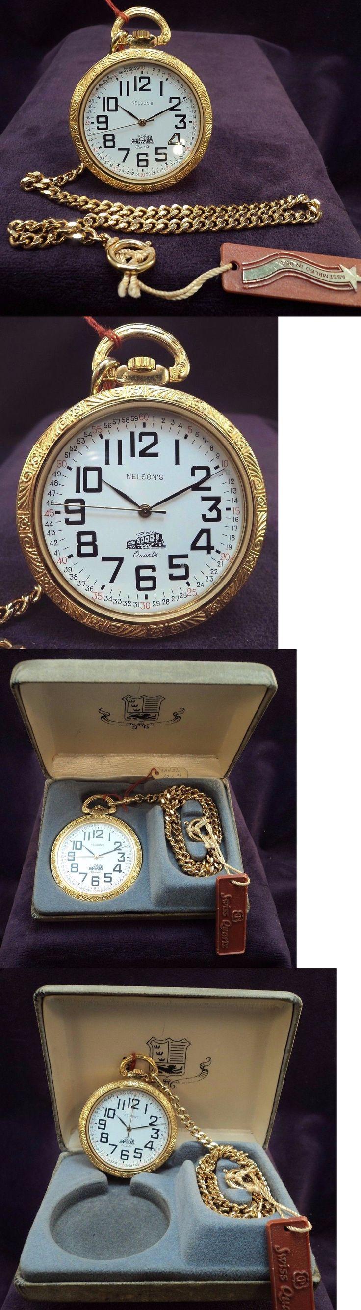 Modern 3938: Nos~Nelsons Usa~ Swiss Eta 7J Quartz~50Mm Railroad Pocket Watch W/ Chain And Box -> BUY IT NOW ONLY: $129.99 on eBay!