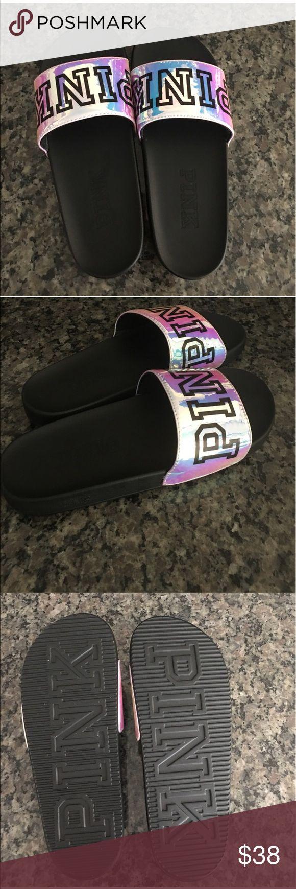 Victoria Secret Pink Holo Slides Holo Slides- Never worn Shoes
