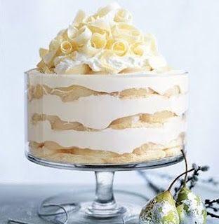 """vanishing white trifle"" - coconut custard, angel food cake, sliced bananas, top with unsweetened whipped cream"