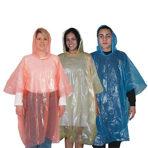 Surviving In Style - Emergency Plastic Disposable Ponchos (Case of 25), $49.75 (http://www.survivingnstyle.com/featured-products/emergency-plastic-disposable-ponchos-case-of-25/)