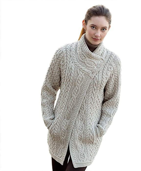 9e748c9e8f1 100% Irish Merino Wool Ladies 3 Button Aran Coat by West End Knitwear at  Amazon Women s Clothing store