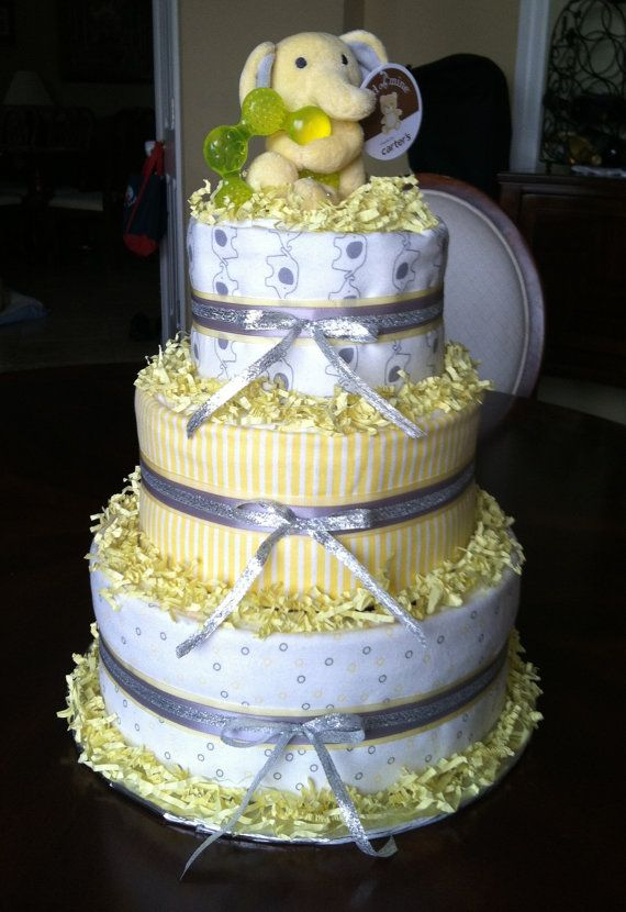 Gender Neutral 3 Tier Diaper Cake By Bebitoboutique On