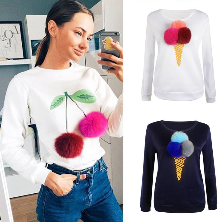 Autumn Lady Long Sleeve Outwear Hoodies Cream Printed Plush Ball  Blouse Tops   Clothing, Shoes & Accessories, Women's Clothing, Sweats & Hoodies   eBay!
