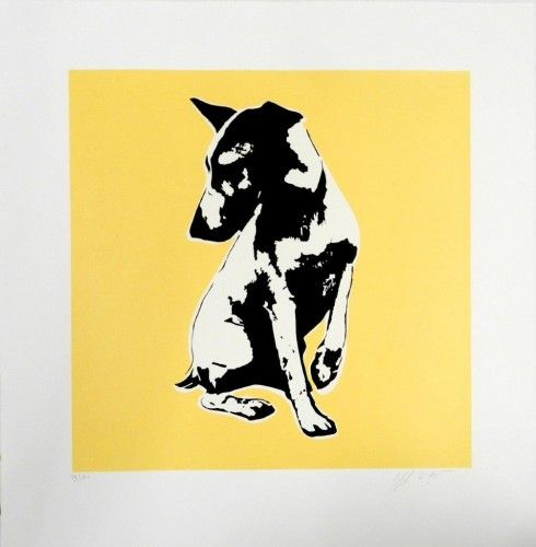 His Master is Voiceless yellow Serigrafía 74x72 cm Autor: Blek Le Rat 3 Punts Galeria #arte #artecontemporaneo #art #contemporaryart