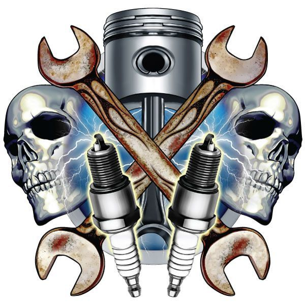 ... Tattoo Mechanic Wrench Retro Garages Sparkly Plugs Mechanics Skull