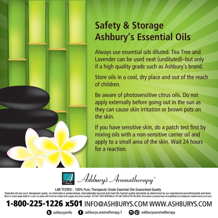 Safety & Storage of Ashbury's Essential Oils Always use essential oils diluted. Tea Tree and Lavender can be used neat (undiluted)–but only if a high quality grade such as Ashbury's brand. Store oils in a cool, dry place and out of the reach of children. Be aware of photosensitive citrus oils. Do not apply externally before going out in the sun as they can cause skin irritation or brown pots on the skin. If you have sensitive skin, do a patch test first by mixing oils with a…