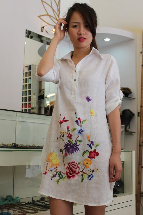 linen shirt hand embroidery comfortable original by lotussilk, $68.00