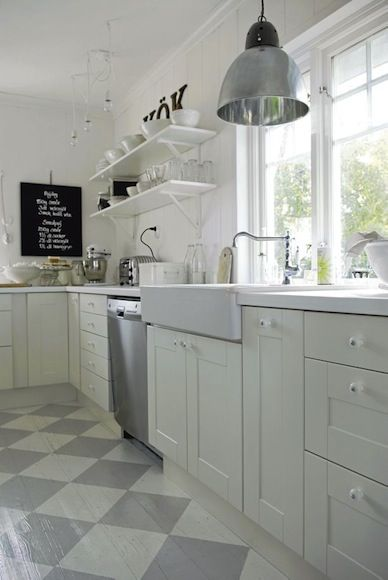 Gorgeous Swedish Kitchen With White Cabinets, Open Shelving, Farmhouse Sink  (IKEA?), Industrial Style Pendant, And Gray Checkerboard Painted Wood Floors .