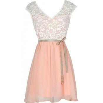 Lily Boutique Sonoma Sunset Lace Dress in Cream/Pink - DRESSES Lily Boutique