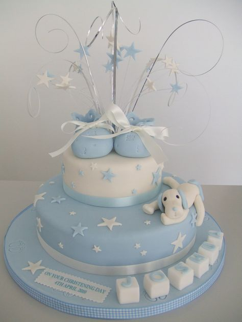 CAKE - Boys Christening | 2 tier christening cake with boote… | Flickr