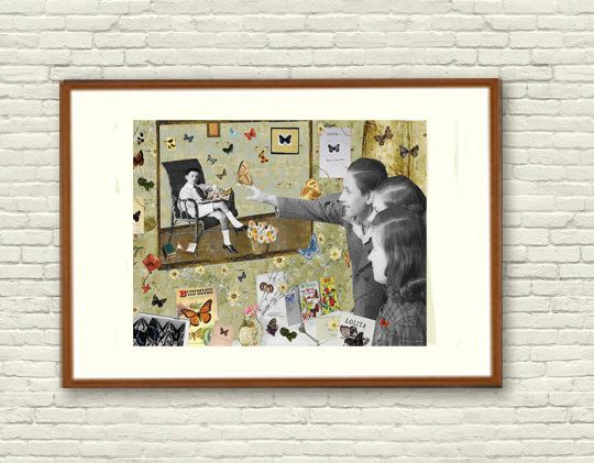 Fine Art Print / Art Poster / Collage / Butterfly / by BoWoStudio