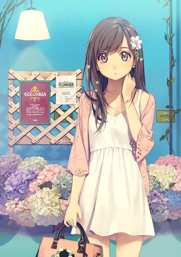 Original Illust | 콜롬비아꽃과 소녀 / コロンビア花と少女 / Colombian flowers and a girl 1507 / Photoshop CC / 2480x3508