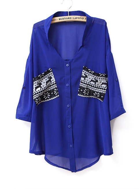 .Neck Chiffon, Pocket Colors, Clothing Website, Cobalt Blue, Winter Sweaters, Royal Blue, Electric Blue, Shirts Blue, Chiffon Shirts