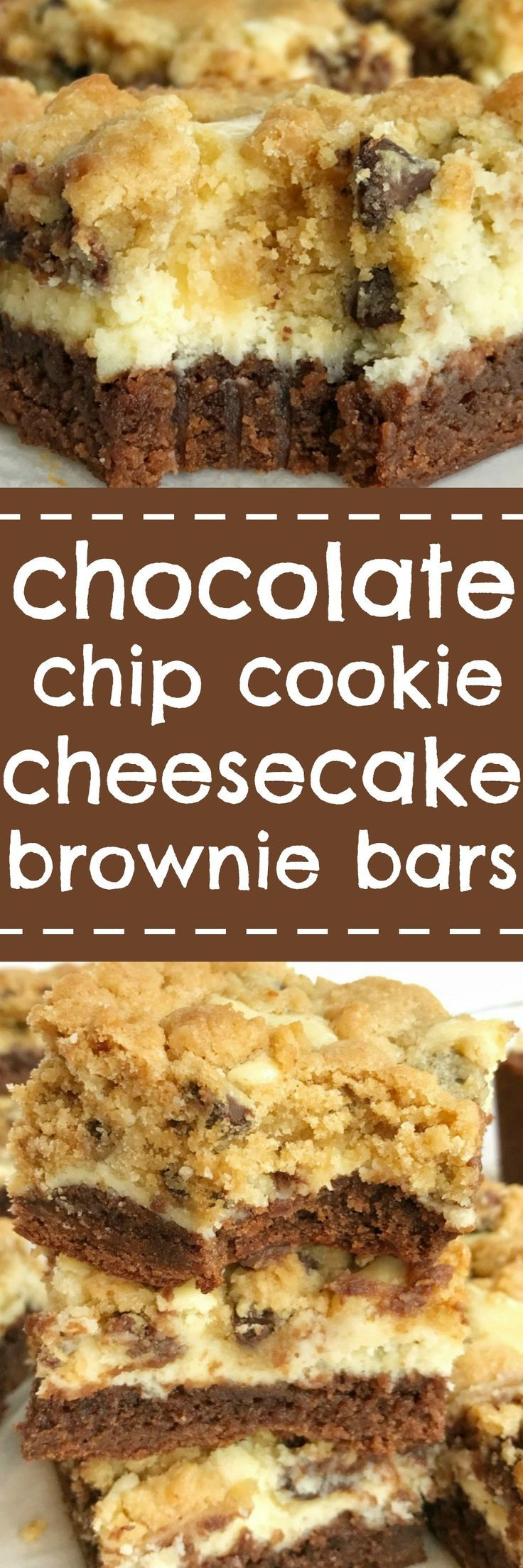You won't believe how easy these chocolate chip cookie cheesecake brownie bars are to make! Convenient packages of brownie mix and chocolate chip cookies make these bars a cinch to prepare. Brownie base with a sweet cheesecake middle, and topped with choc