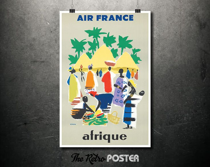 Air France - Afrique - Jean Even, 1950s - French Vintage Travel Poster, Wanderlust Print, Air France Posters, Tourism Posters, Africa Poster by TheRetroPoster on Etsy