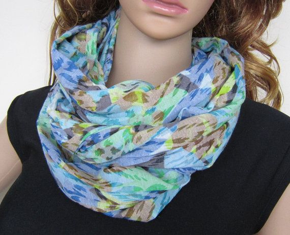 Lightweight Cotton Scarf In Multicolored Blue by EarthyEcoStyle