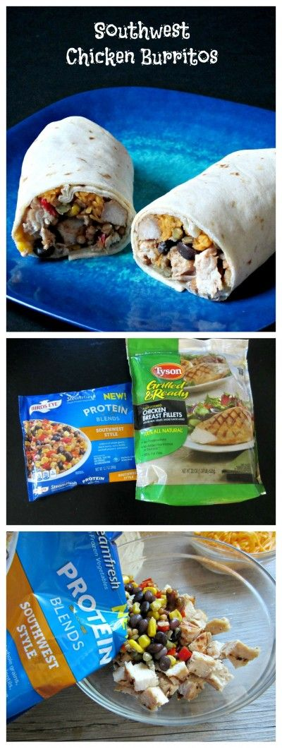 Southwest Chicken Burritos- Easy, delicious and healthy dinner only using your microwave! Made with Tyson Grilled & Ready Chicken Breast Fillets and Birds Eye Protein Blends, Southwest Style @TysonFoods  #FastFreshFilling #Pmedia #ad